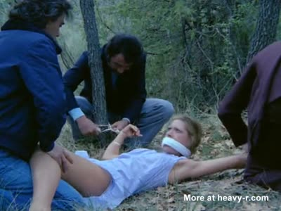 Kidnapped Blonde is tied up and gangraped in the woods->